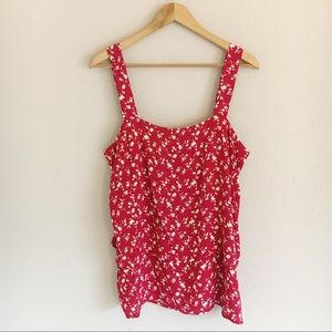 Bobeau Red and White Floral Tank Top